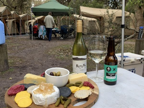 Local cheese and wine at base camp