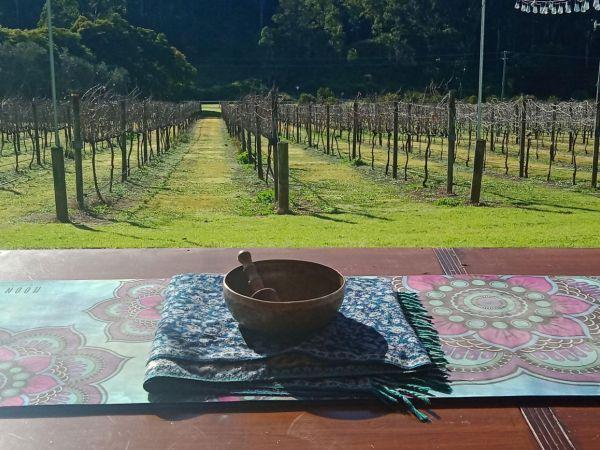 Singing bowl with vines - Image courtesy Yoga Under The Bodhi Tree